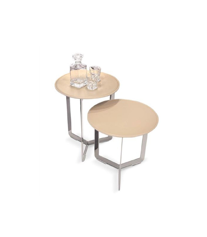 Designer round side table with leather top